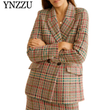 YNZZU Elegant 2019 Autumn Multicolor Women blazer New fashion double breasted office lady suit Loose Long sleeve jacket YO870
