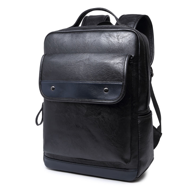 ФОТО England Vintage Style PU Leather Men Laptop Backpack For College Preppy Style School Backpack Newest Mochila