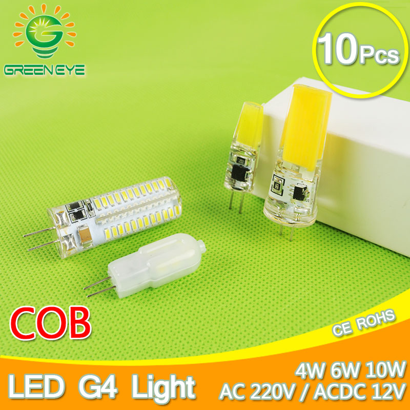 10pcs DC 12V AC 220V Led G4 Bulb Light 4W 6W 10W Spotlight COB SMD 3014 2835 Replace Halogen Lamp Ampoule Bombilla Lampada 5W 3W msled l04 g4 4w 130lm 6500k 5 smd 3030 led white light spot beam bulb ac dc 12v