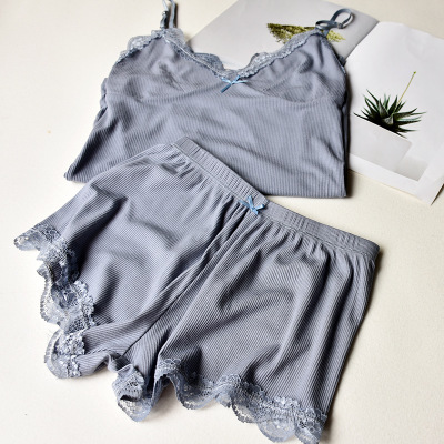 Two Piece Cotton Pajama Set Sexy Lace Top And Shorts Pyjamas Spaghetti Strap Sleepwear High Elastic Pijama Nightie Home Clothes 4