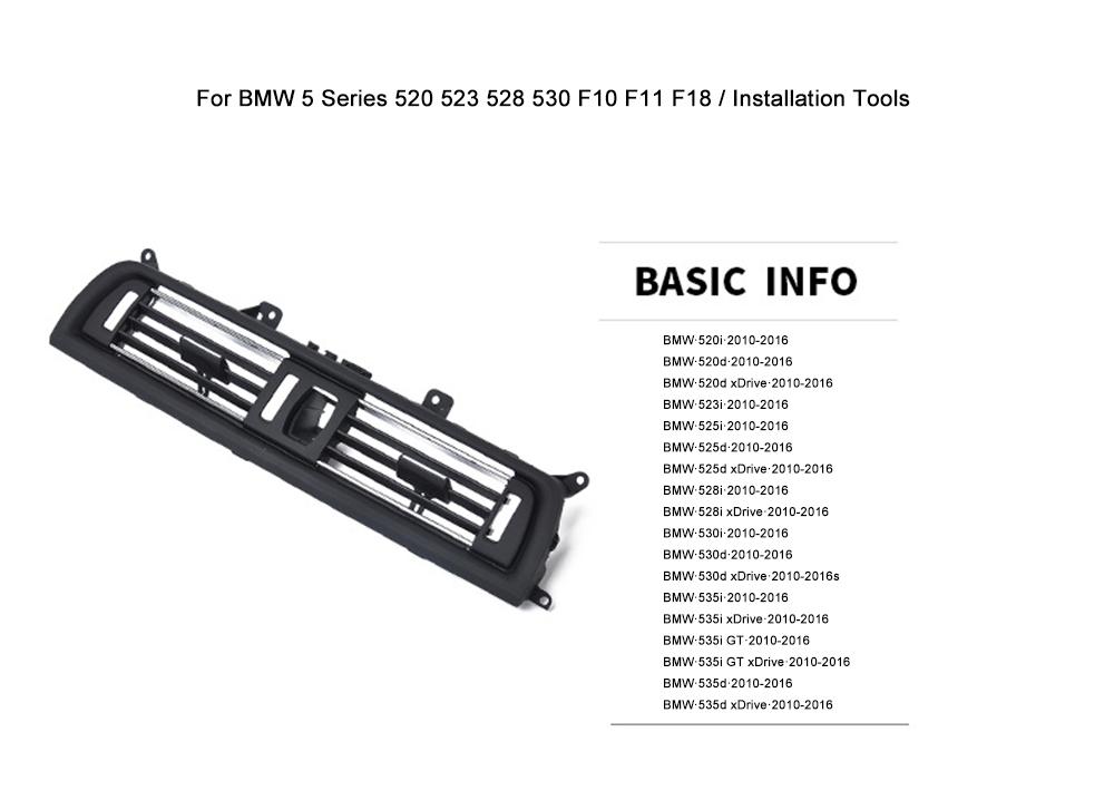 Mmhot for BMW 5Series 520 523 525 528 530 10-16 Avant AC Vent Air Grille Dashboard Console Centre Air Ventilation Fit OEM 64229166885 Color : Left
