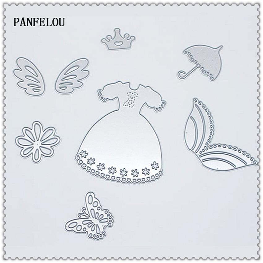 PANFELOU Metal craft Princess dress series paper die cutting dies for Scrapbooking/DIY Christmas wedding Halloween cards
