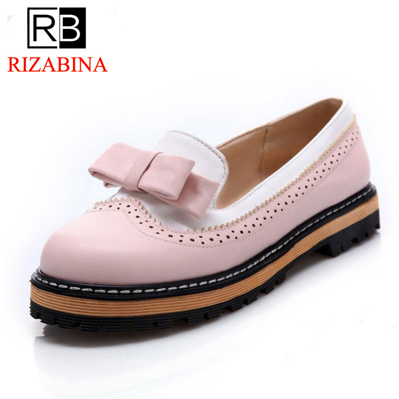 RizaBina Big Size 32-43 Women Slip On Flats Shoes Women Cute Bowtie Lace Shallow Mouth Ladies Platform Leisure Footwear