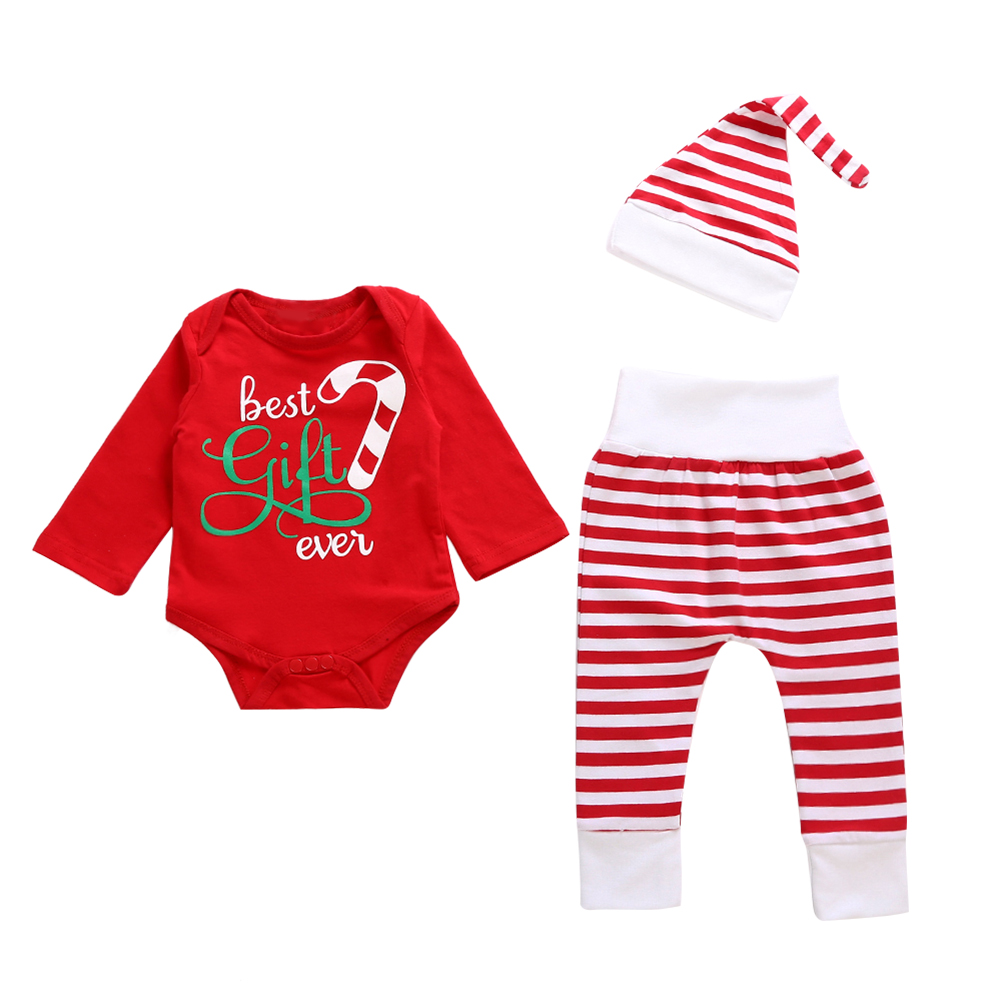 3pcs/Set Newborn Baby Christmas Clothes Set Long Sleeve Letter Print Romper+Striped Pants+Cap Fashion Infant Girl Boy Outfit Set 3pcs newborn baby girl clothes set long sleeve letter print cotton romper bodysuit floral long pant headband outfit bebek giyim