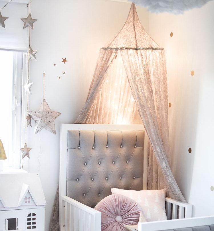 Hung Princess Bed Canopy Curtain Crib Netting Lace Baby Round Mosquito Net Children Room Decoration Photography Props Baby Tent nordic white lace girls princess dome canopy bed curtains round kids play tent room decoration baby bed hanging crib netting