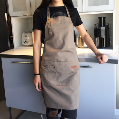 Unisex Floral Apron Long Sleeve Pocket Kitchen Restaurant Cooking Aprons 6L