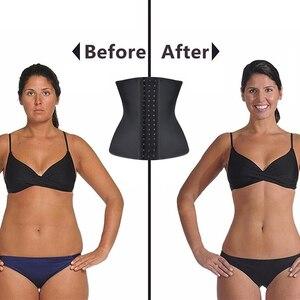 Image 5 - Burvogue Women Latex Corset 9 Steel Bones Waist Control Bustiers & Corsets Slim Underbust Waist Trainer Corset for Weight Loss