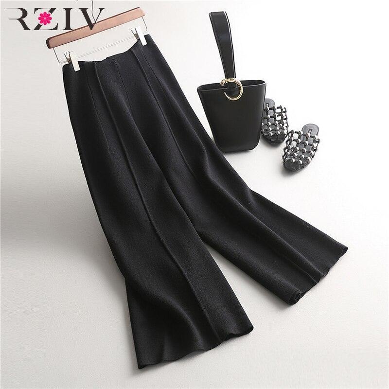 RZIV 2018 Autumn Women's   Pants   Casual Solid Color Knit   Wide     Leg     Pants
