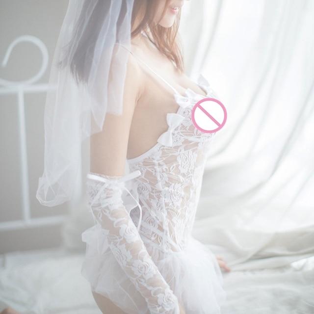 1PC Lingerie Sexy blanc chaud mariée robe de mariée uniformes Perspective dentelle gaze tenue érotique Lingerie Costumes