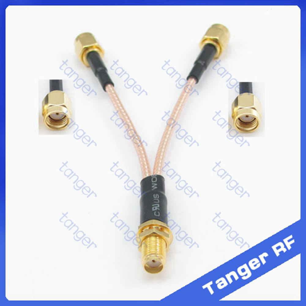 Antenna extension Y type cable 1 SMA female jack to 2 RPSMA male connector with RG316 RG-316 RF Pigtail Jumper cable 8 inch 20cm rp sma female to y type 2x ip 9 ms156 male splitter combiner cable pigtail rg316 one sma point 2 ms156 connector for lte yota