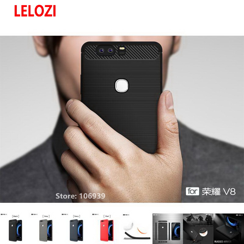 LELOZI Soft TPU ShockProof Back Armor Rugged Carbon Fiber Brushed Men Phone Mobil Coque Etui Case fundas For Huawei Ascend V8