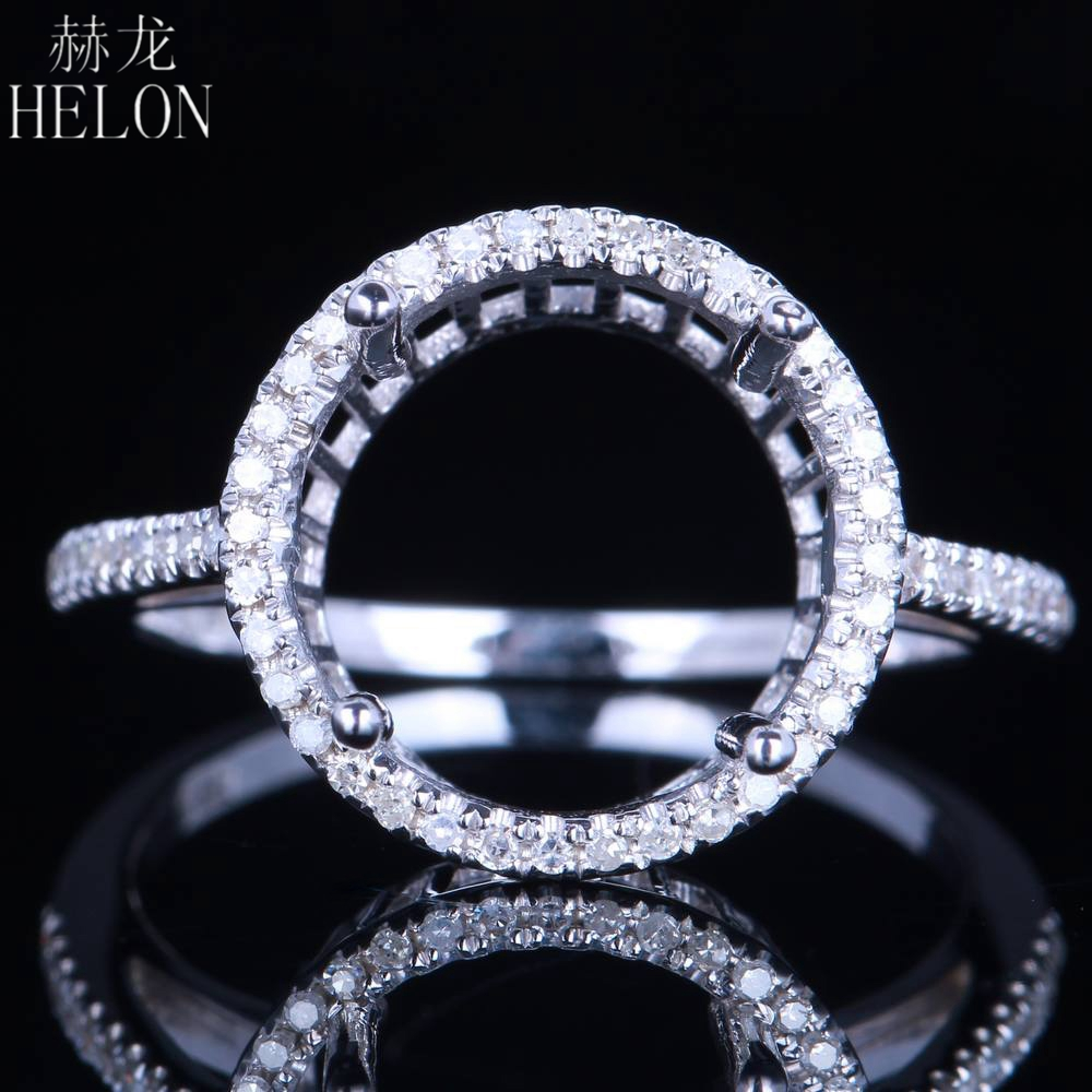 HELON Solid 14K White Gold 11-12mm Round Cut Semi Mount Pave Natural 0.25ct Diamonds Women Fine Jewelry Wedding Engagement Ring цена