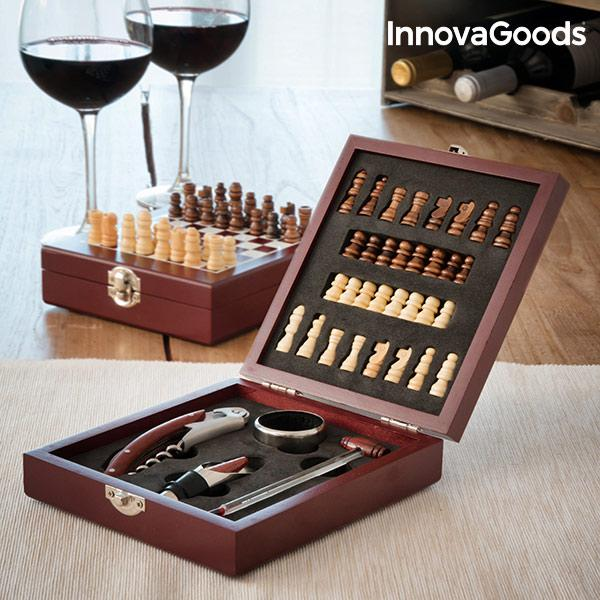 InnovaGoods Wine And Chess Accessories Set 37 Pieces 2 In 1 Made Of Wood And Stainless Steel Ideal For Parties And Celebrations