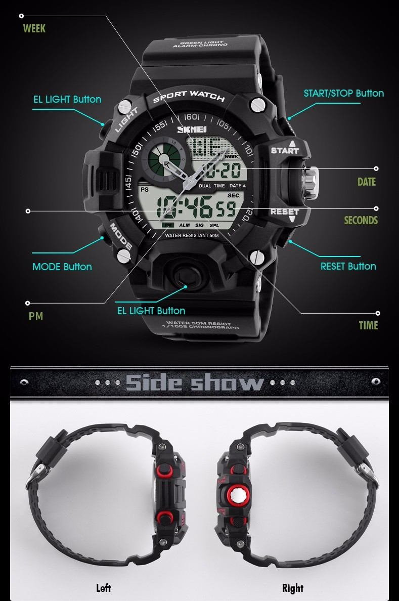 SKMEI S-SHOCK Men LED Digital Army Military Watch Black