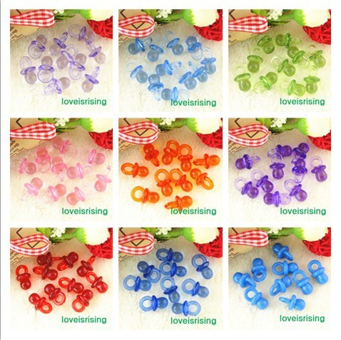 18 Colors Pick--500pcs 22mm*11mm Multi color Mini Cute Charms Acrylic beads Baby Pacifier Baby Shower Favors Party Decorations