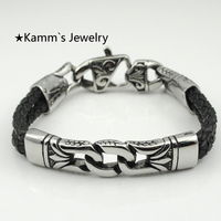 2014 Punk Charms Leather Rope 316L Black Silver Stainless Steel European Bracelet Christmas Islam Pulseras Men