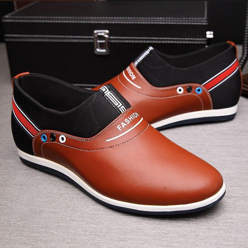 Do Casuais Moda Sobre Sexo branco Sh41 Brancos Masculino Hombre Mocassins De Aumento Brown Para Homens Zapatos Genuínos Sapatos Couro Deslizar Esportes preto 0XwZXf6rqx
