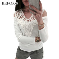 BEFORW Womens Hollow Shirt Lace Tshirts Women S Lace Patchwork T Shirt Women 2018 Spring Autumn