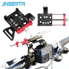 JINSERTA CNC Aluminum Bike Bicycle Stand Mount for Gopro 7 Bracket Adapter with Mobile Phone Holder for Gopro 6/5 Xiaomi yi
