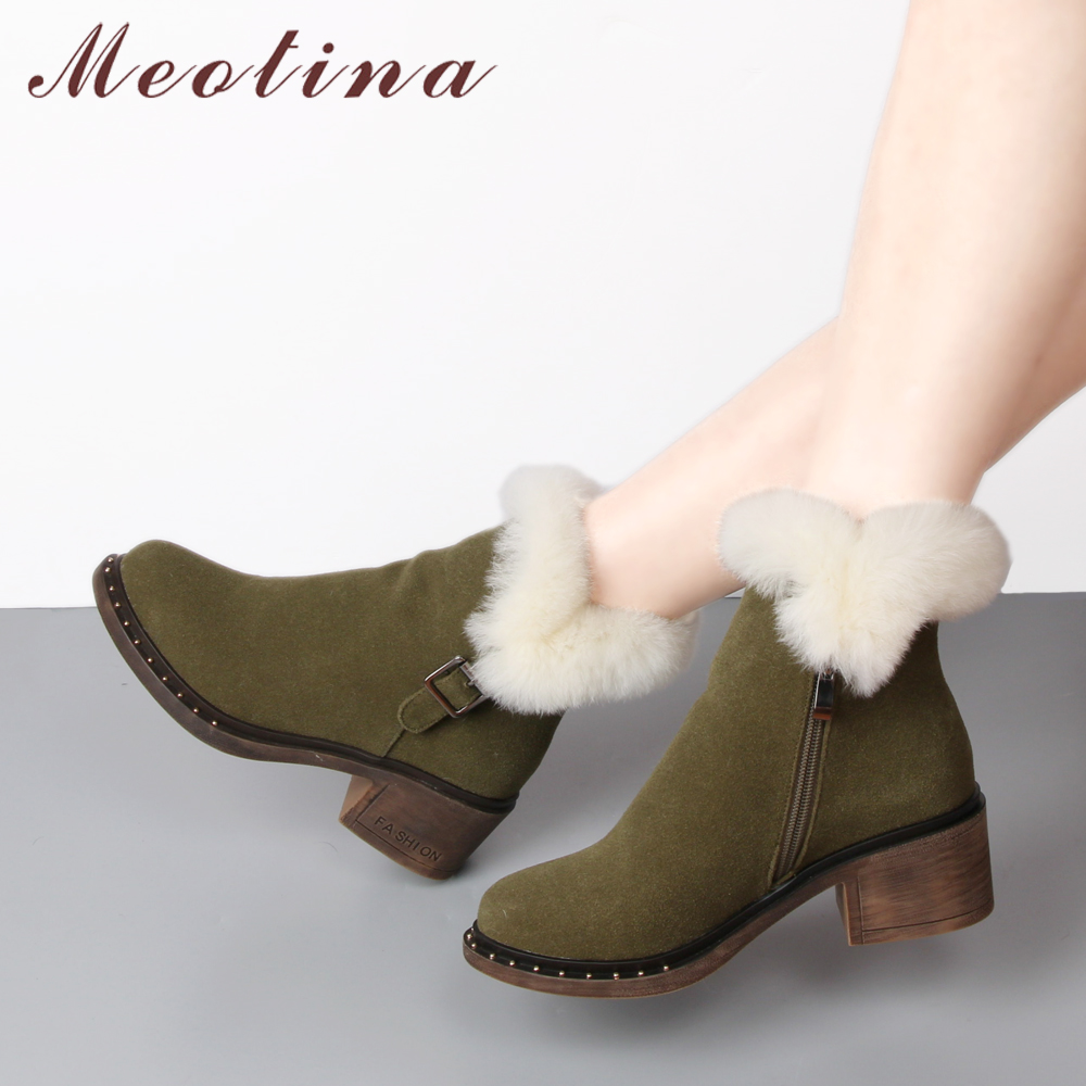 Meotina Snow Boots Winter Ankle Boots Women Real Rabbit Fur Zipper Buckle Cow Suede Warm Plush Short Boots Footwear Green Black цены онлайн