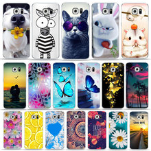 Floral Cute Animal cat Rabbit Art phone Case For samsung A7 2018 A6 Plus S10 E S8 S9 Cover for S7 S6 Edge TPU case