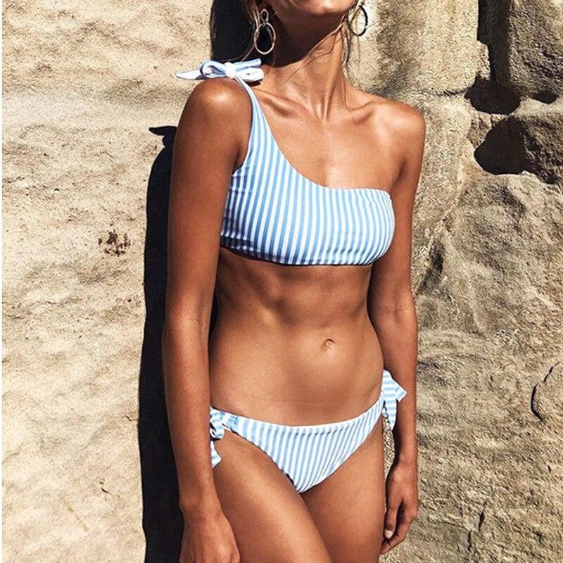 OCQBI New 2019 Sexy Women Swimwear Brazilian Bikini Biquini Button Striped shoulder strap