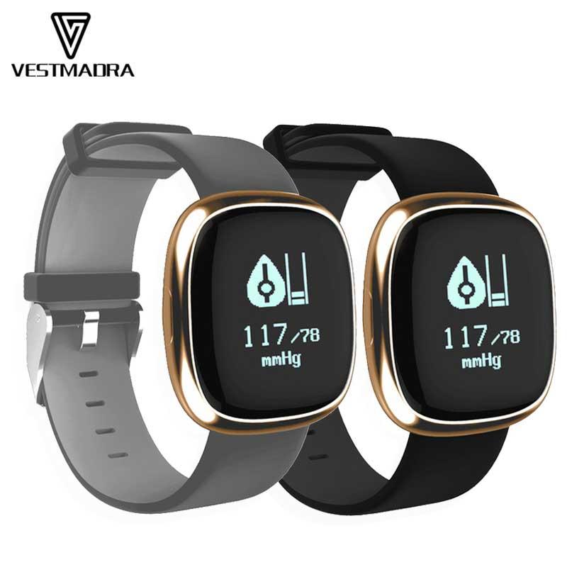 VESTMADRA P2 Smart Band Blood Pressure Heart Rate Monitor Smart Bracelet Pedometer Sleep Fitness Tracker for Business Affairs