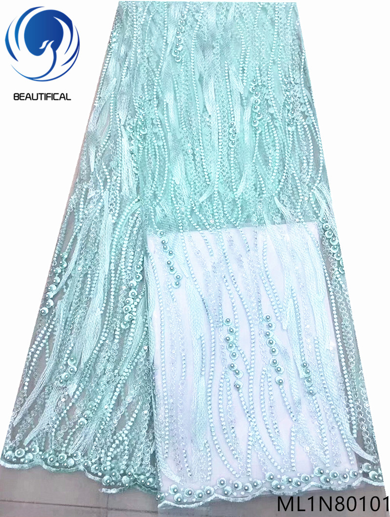 BEAUTIFICAL african lace fabric Latest style french net lace beads fabric embroidery lace sequins fabric free shipping ML1N801