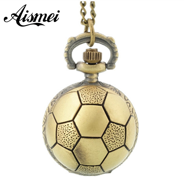 Gold Football Soccer Anniversary Gift Antique Style Necklace Chain Mens Womens Lady's White Dial Pocket Watch New