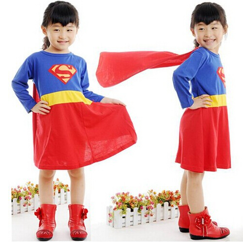Capable 2016 Hot Sale 1pcs High Quality Costume Superman Girls Version Dress Stylish Clothes Set Halloween Wear Fashion Show Aphw363