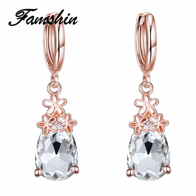 FAMSHIN Vintage Wedding Crystal Earrings for Women Fashion Costume
