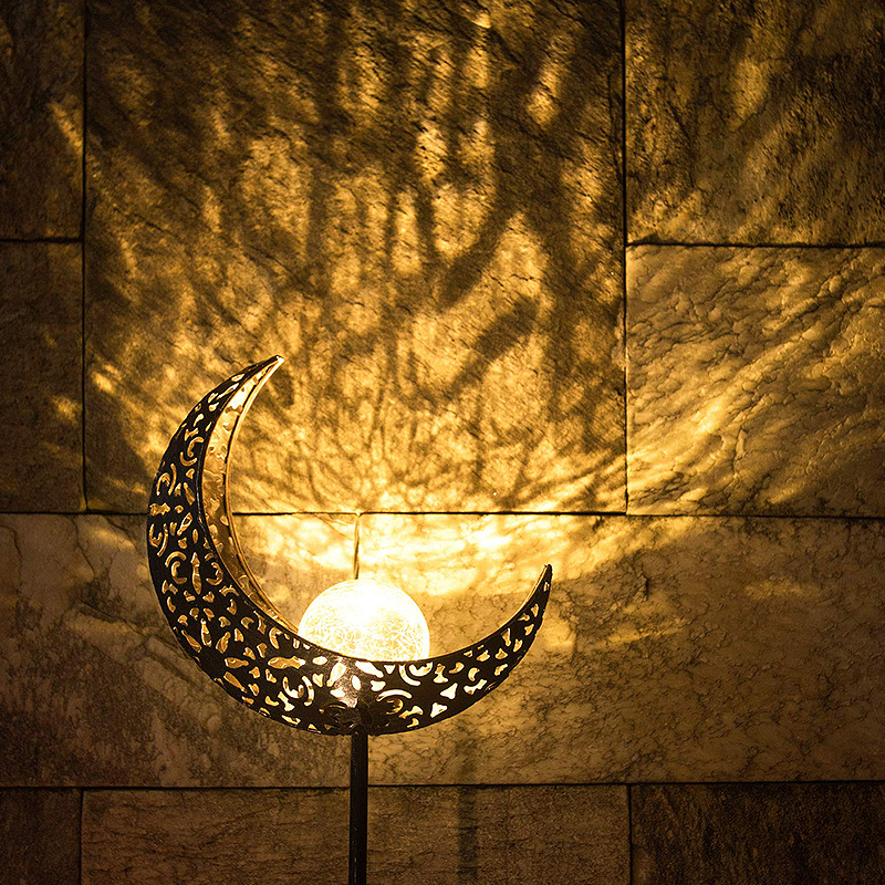 Outdoor Waterproof LED Solar Lights Moon/Flame Design Glass Solar Stake Night Lights Home Garden Yard Decoration Lights