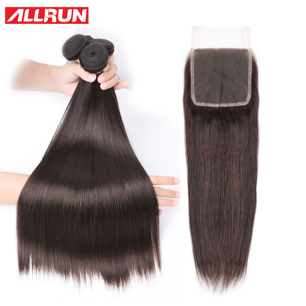 Allrun Malaysia Straight Hair With Lace Closure Free Part Human Hair Bundles With Closure Non Remy 3/4 Bundles With Closure