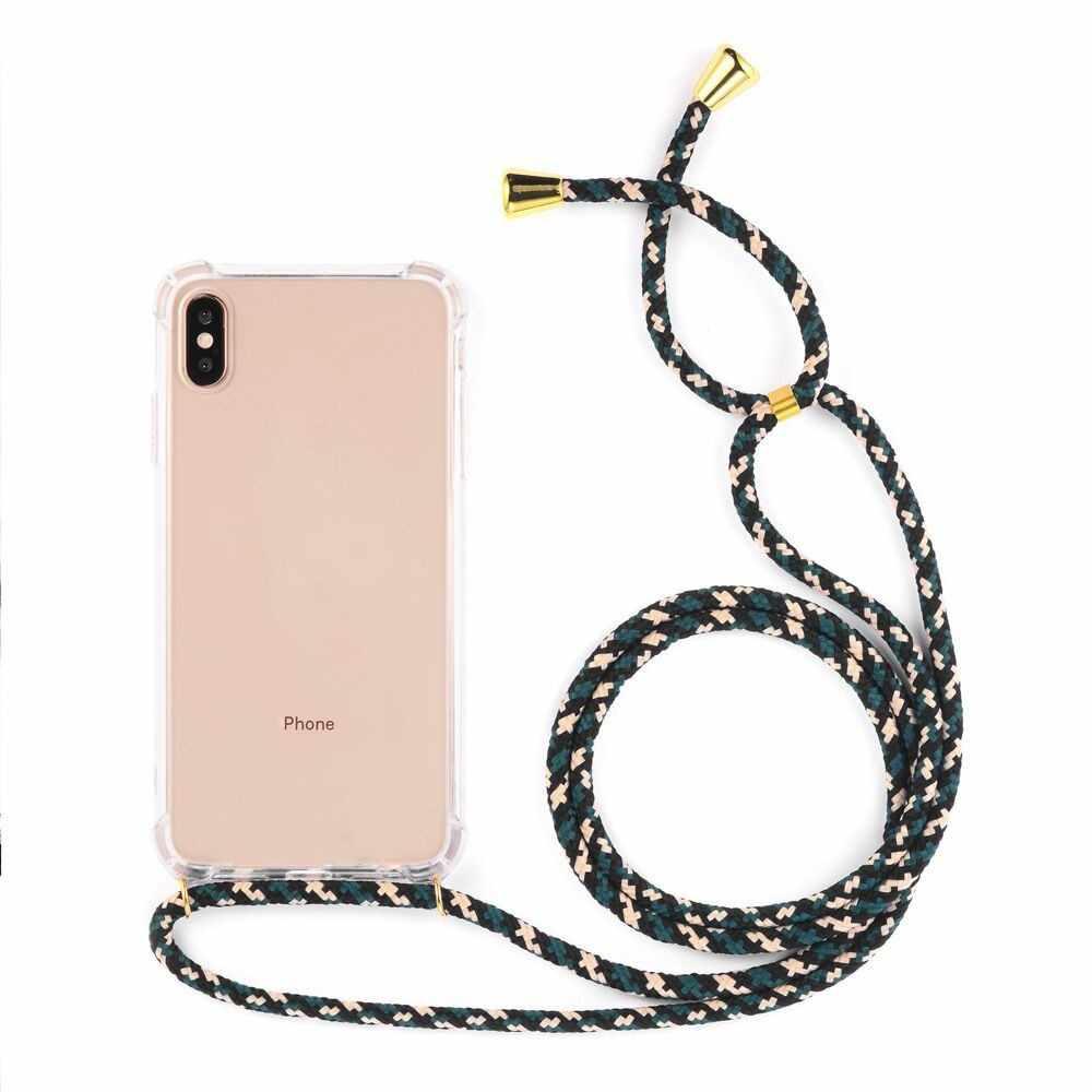Transparante Zachte TPU Mobiele Telefoon Geval Met Lanyard Ketting Schouder Draagriem Touw Koord voor iphone 6 7 8 plus x xs xr xs max