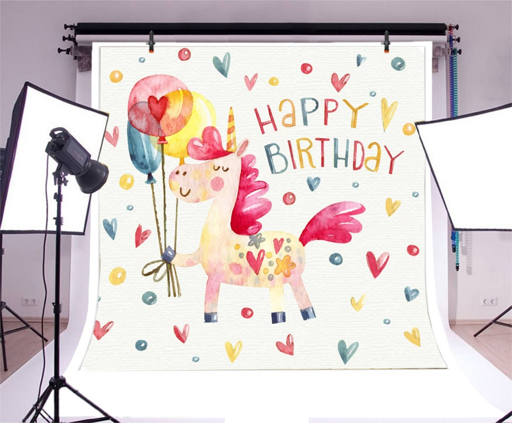 Laeacco Cartoon Unicorn Balloon Baby Birthday Party Photography Background Customized Photographic Backdrops For Photo Studio in Background from Consumer Electronics