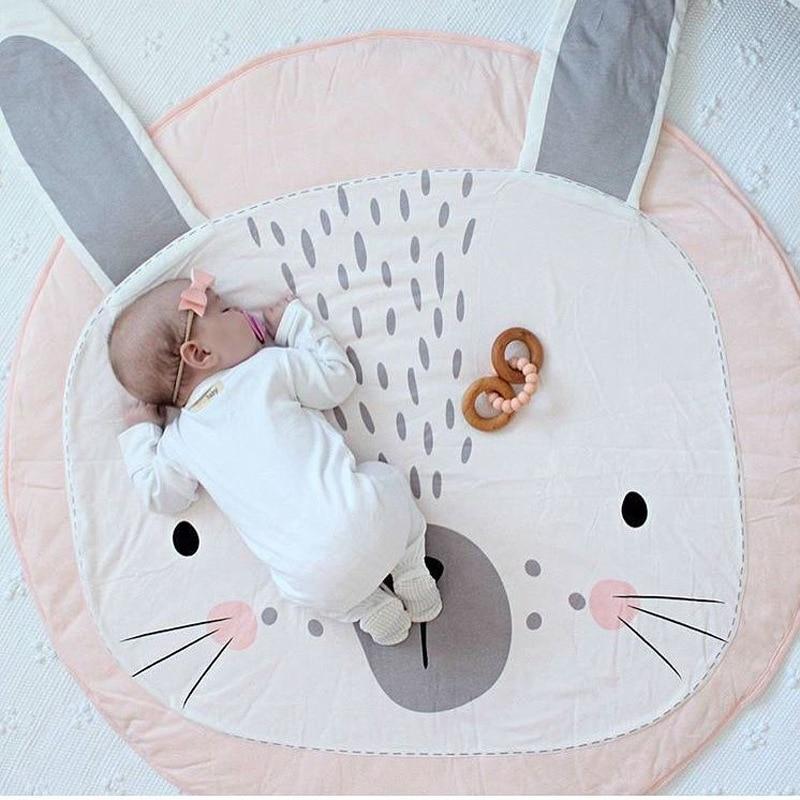 Baby Puzzles Mat Kids Warm Carpet Rug Pink Rabbit Infant