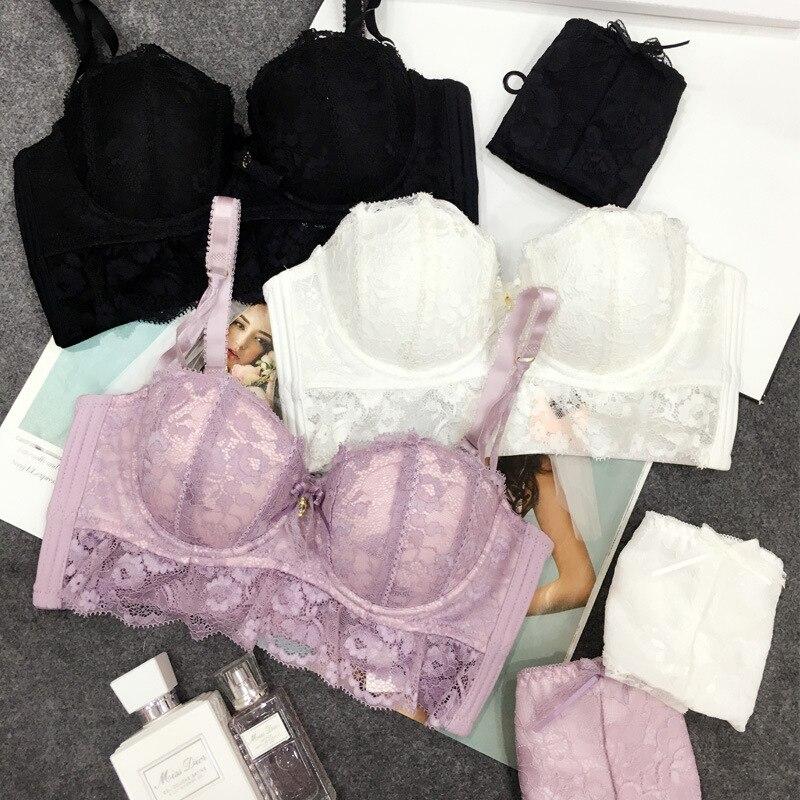 e9666b448d JYF Brand Women Underwear Set Sexy Lace Bra Set Sweet Lovely Gather Together  Deep V Bra
