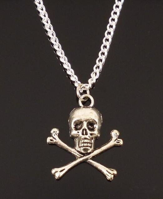 Hot new fashion vintage silver skull crossbones pirate costume hot new fashion vintage silver skull crossbones pirate costume collar statement pendant necklace gothic jewelry women10pcs aloadofball Gallery