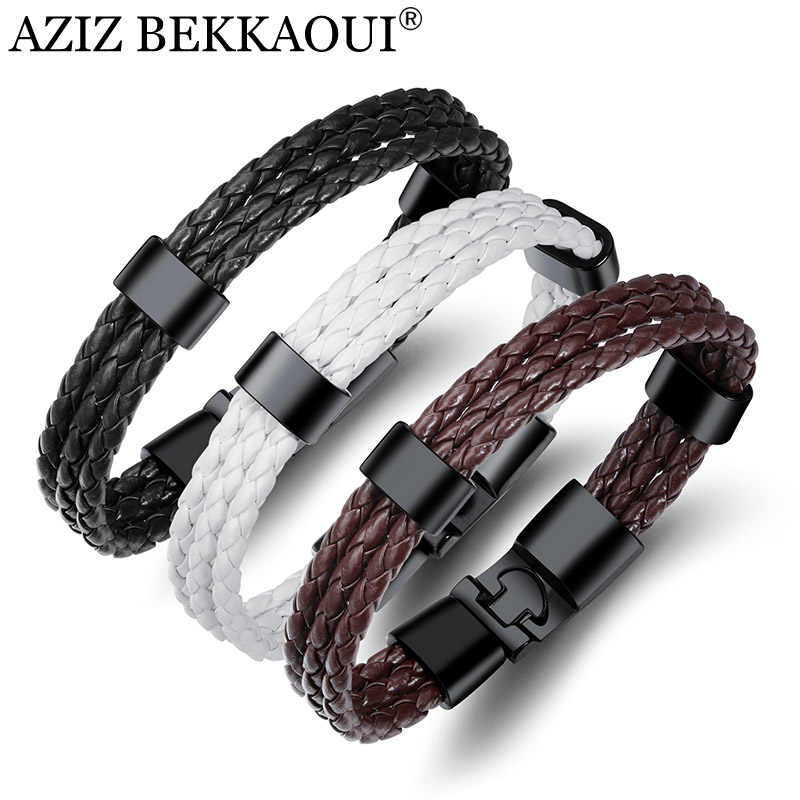 AZIZ BEKKAOUI Leather Bracelet Black Punk Bracelet For Men Stainless Steel Leather Braided Rope Bracelet Magnet Bangle for Men