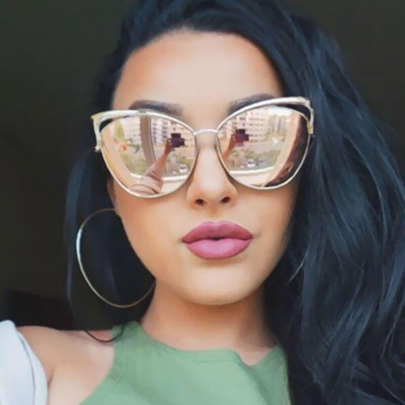 Vintage Women Cat Eye Sunglasses Fashion Sexy Celebrity Female Shades Retro Cateye Big Hollow Metal Mirror
