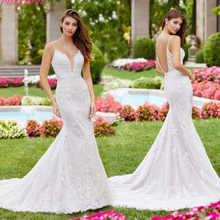 Vestido De Noiva White ivory Backless Mermaid Wedding Dress