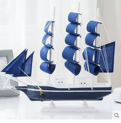 Exquisite beauty Lucky ornaments USA style decoration wood ship sailing model simulation technology Everything is going smoothly