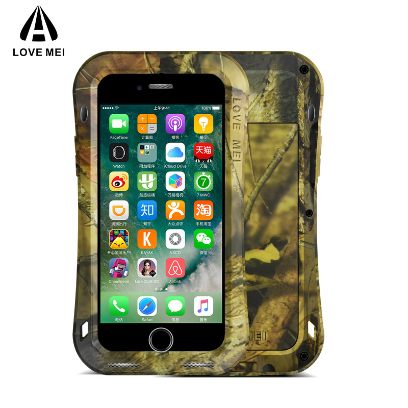 LOVE MEI Camouflage Small Waist Metal Case For iPhone 7 Plus Cover Armor Shockproof Life Waterproof Case For iPhone 7 Coque