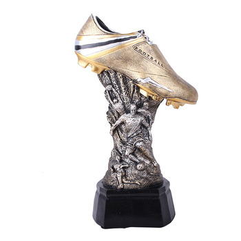 Home Decor Figurine European Cup Soccer Shoes Trophy Resin Ornament Sports Statue Football Shoes Trophy Model Desktop Craft Gift