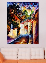 100% Hand-painted Street Building Canvas Oil Painting Colorful Palette Knife Wall Picture for Living Room Bedroom Home Decor