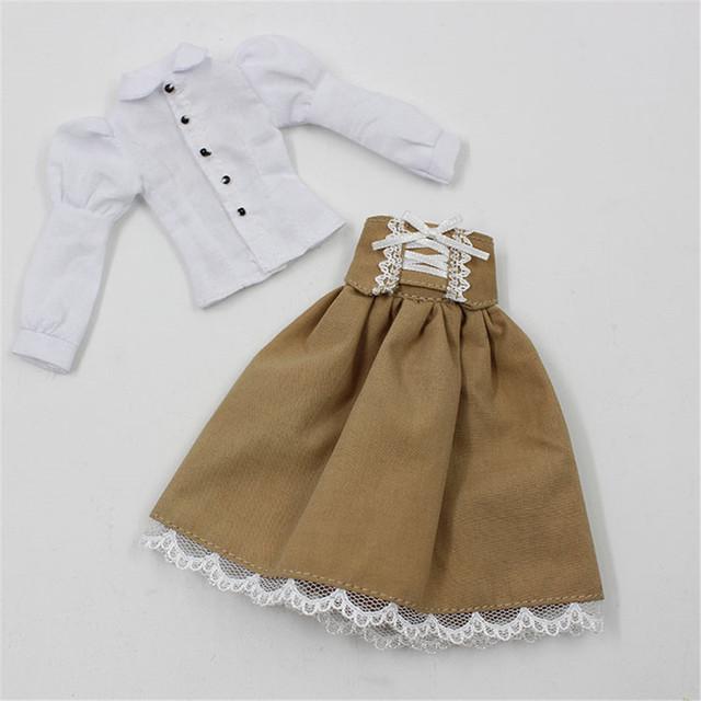 Neo Blythe Doll White Shirt Brown Black Skirt