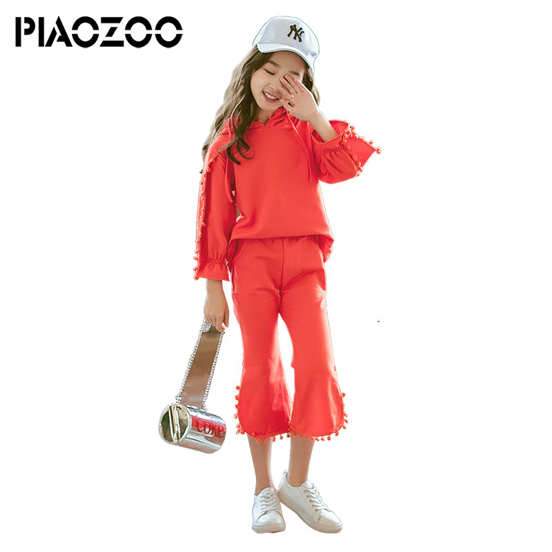 Candy color Girl Tassel Pullover casual hooded hoodies sweatshirt flare pants set lead to fashion teenage girl clothing P20 candy color slim casual pants