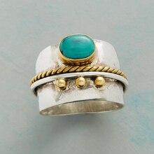 Anillo bohemio Vintage para hombre anillo Punk clásico verde con cuentas resina dedo anillos para mujeres moda compromiso joyería O5M126