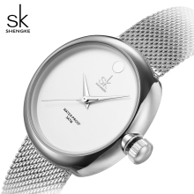 shengke new fashion women quartz watches ladies top brand watch silver stainless steel mesh belt women's clock Relogio Feminino