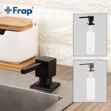 Frap dispensadores de jabón cuadrados para cocina, surtidor de jabón con bomba montada en cubierta de cocina con encimera incorporada, color negro Y35030/ 1